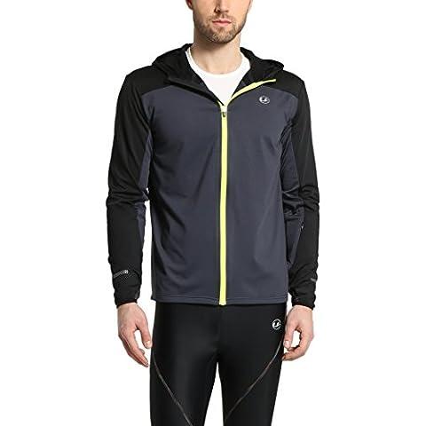 Ultrasport - Chaqueta deportiva de correr para hombre, manga larga, capa intermedia Buck, color negro, talla