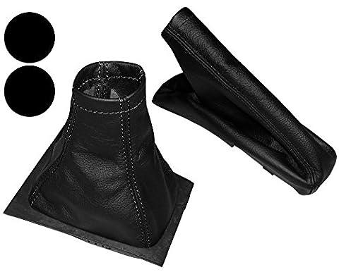 AERZETIX NIK-ASTRAG-MSK-MR-BLACKST-2OP Soufflet De Levier Vitesse Frein À Main En 100% Cuir Véritable Couture