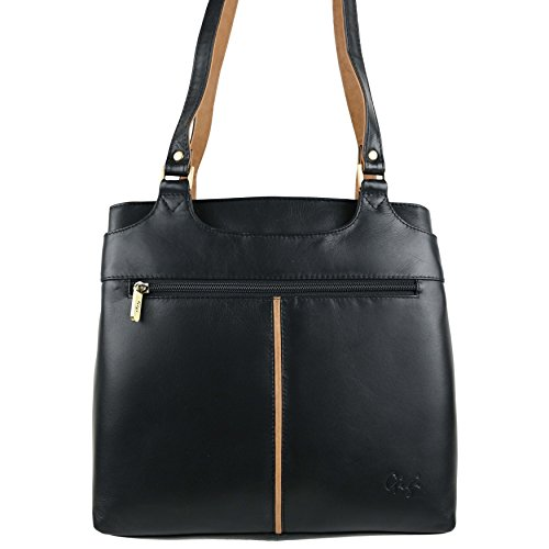 Damen Bicolor Schulter Handtasche aus weichem Leder von Gigi Othello Collection Bag Black/Honey