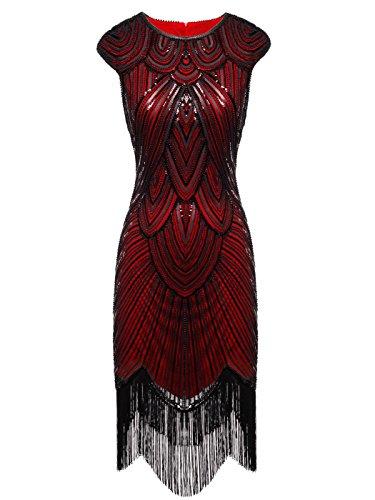 FAIRY COUPLE 1920 Pailletten versch?NERT Quasten Falten Flapper Kleid D20S002(S,Dark Red) (S Kleider 1920)