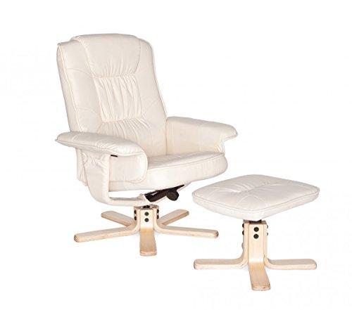 FineBuy Fernsehsessel Relax TV Design Relax-Sessel Wohnzimmer verstellbar Modern Bezug Kunstleder beige drehbar mit Hocker X-XL 110 kg mit Armlehnen und Hocker Gaming Sessel ohne Motor Kopfstütze - Wohnzimmer-moderne Sessel