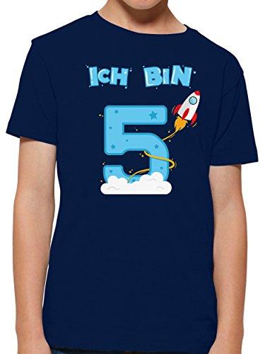 chon 5 Geburtstag Rakete Jungen T-Shirt (Navy, 7-8 Jahre 122-128 cm) ()