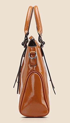 Auspicious beginning Borse a spalla singola con manico superiore in pelle cerata vintage da donna Vino rosso