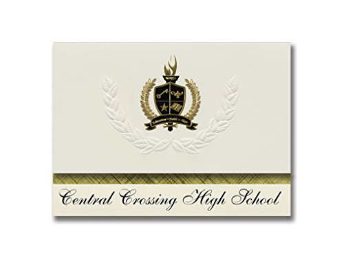 Signature Announcements Central Crossing High School (Grove City, OH) Schulabschluss Ankündigungen, Präsidential-Stil, Grundpaket mit 25 goldfarbenen und schwarzen metallischen Folienversiegelungen