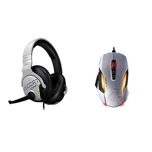 Roccat Khan Aimo 7.1 Surround Gaming Kopfhörer (Hi-Res Sound, Real-Voice Mikrofon mit Mute-Funktion) weiß & Kone AIMO Gaming Maus (optischer Owl-Eye Sensor (100 bis 12.000 DPI)) weiß