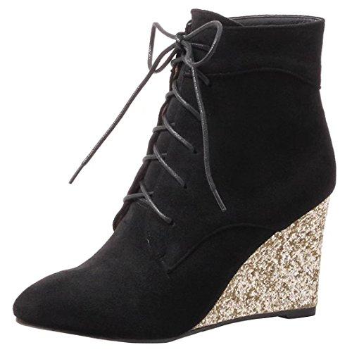 AIYOUMEI Damen Herbst Winter Keilabsatz Stiefeletten mit Glitzer Absatz und Schnürung Kurzschaft Stiefel Keilstiefel