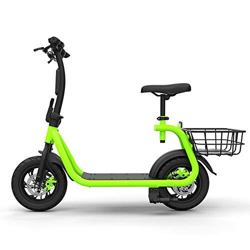 Zusammenklappbares Elektroauto Im Freien mit Sitz Erwachsener Travel Scooter (Lithium battery10.5Ah) (grün) (Color : Green, Size : 122 * 59 * 95cm)