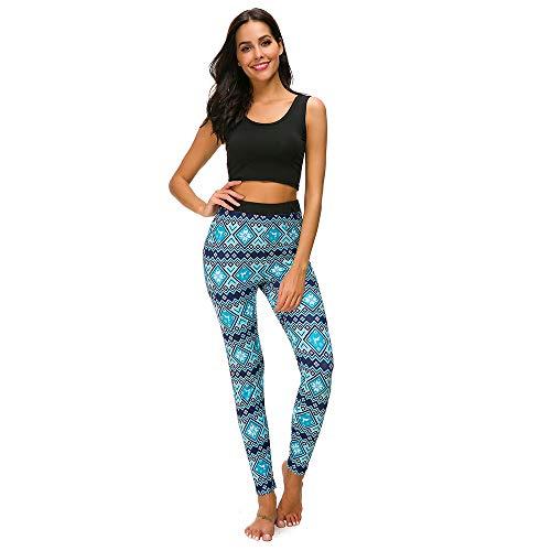 FRAUIT Weihnachten Leggings Damen Yoga Hose Frohe Skinny Elastic Print Pants ausgestattete Leggings Zeichnen Hosen Streifen Hüfthose Strumpfhose Strumpfhose Workout Stretch Geschenk Blau
