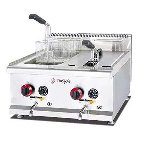 Friggitrice a gas professionale doppia vasca acciaio inox da banco14+14 lt litri