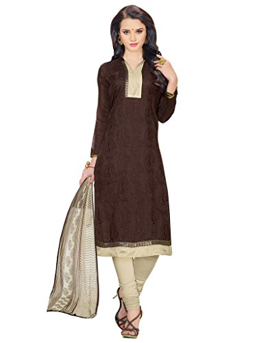 AppleCreation Brown Chanderi Salwar Kameez
