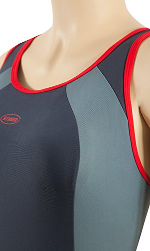 Gwinner Damen Badeanzug- Geeignet Für Freizeit Und Sport - Ideale Passform - Beständig Gegen UV Und Chlor -Made In EU #Alinka Anthrazit/Grau/Rot