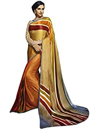 Shaily Multicolor Georgette Printed Saree With Blouse Piece