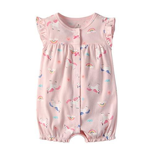 Baby Strampler Mädchen Jumpsuit Neugeborenes Sommer Pyjama Baumwolle Kurzarm-Body 6-9 Monate -