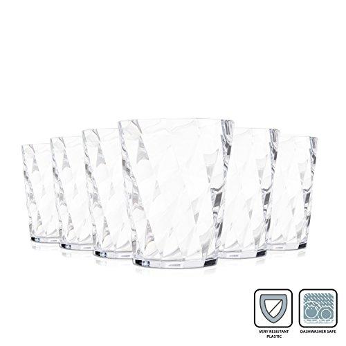 Omada Diamant Gläser / 350 ml / Bruchsichere Gläser / Hergestellt aus Acryl / Wasser, Rote Weingläser / Ideal für Tee, Kafee, Whiskey und Milch / 6-teiliges Set / Transparent