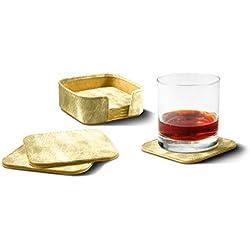 Lucrin - Set de 6 sous-verres - Doré - Cuir Métallisé