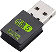 XVZ USB WiFi Bluetooth Adapter, 600mbps Dual Band 2.4G/5G Wireless WiFi Dongle Network Card for for Laptop Des
