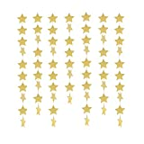 Newin Star Stern Girlande, Stern Banner Papier Hängende Dekoration für Hochzeit Urlaub Party Geburtstag Zimmer Deko, 4 m, Gold