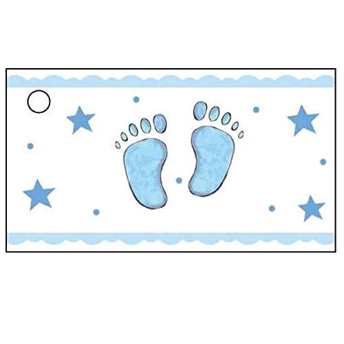 CTB08115 Namensschild für Gastgeschenke, Taufe, Jungen, blaue Füße, 10 Stück