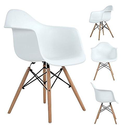 WV LeisureMaster Pack 4 Chaises DAW Salle à Manger Chaises Lounge Fauteuil de bureau Meubles, Blanc
