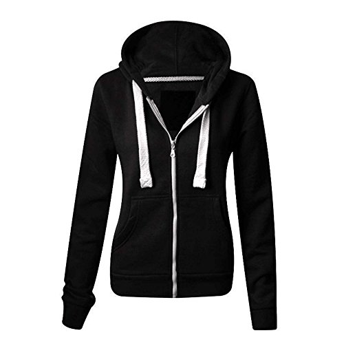 Womens Plain Hoodie Plus Sizes Hooded Zip Zipper SweatShirts Jackets Coat 8-22 (XL(14), Black)