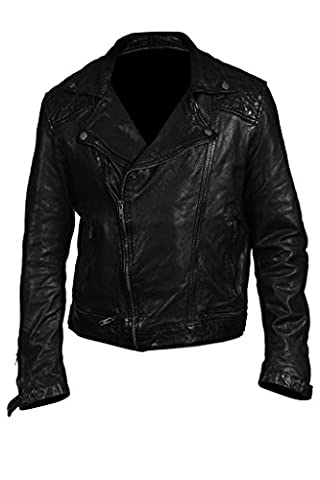 Hampton New Men's Casual Retro Biker Fashion Real 100% Sheepskin Black Nappa Leather Short Quilted Rock Punk Jacket Slim Fit (S)