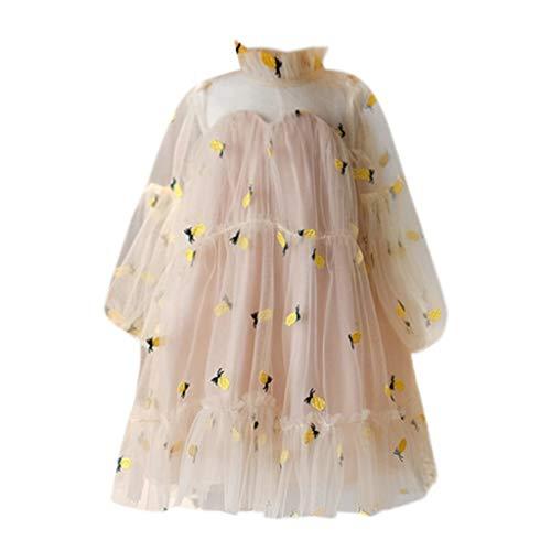 VJGOAL Mädchen Kleider, Kind Baby Süß Lange Ärmel Prinzessin Kleid Obst Ananas Stickerei Sommer Reisen Urlaub Strand Dresses for Girl 2T-6T(Gelb,7) - Obst-bond