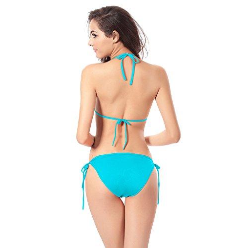 Hamaka Damen Dreieck Solide Bikini Sets Bademode Badeanzug Blau