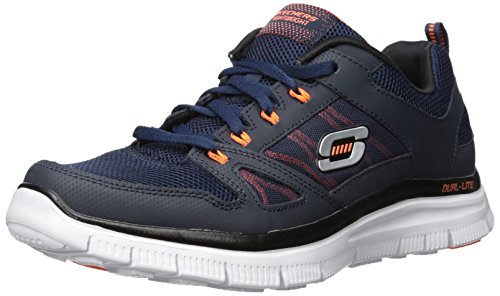 Skechers Flex Advantage Tune In, Sneaker uomo, Blu (Navy/Orange), 45