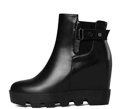 British Winter Martin Boot Versteckte Ferse Leder Freizeitschuhe Runde Kappe Keilabsatz Stiefel Frauen Stiefelette ( Color : Black , Size : 34 ) (Thong Classic British)