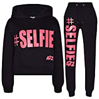 A2Z 4 Kids® Kids Girls Tracksuit Designer #Selfie Print Hooded Crop Top Bottom - T.S Crop #Selfie Black & Neon Pink_9-10