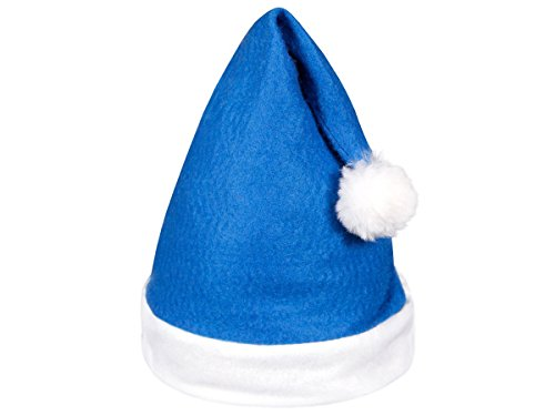 Set di 12 cappelli da babbo natale con pon pon (wm-31) blu bianco di feltro per adulti uomo donna di alsino