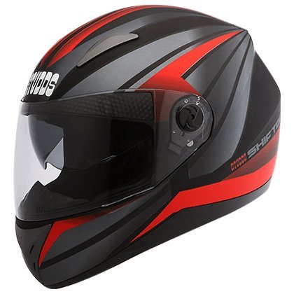 Studds Shifter D2 Decor Full Face Helmet Matt Black with Red (L - 58 Cms, Plain Visor)