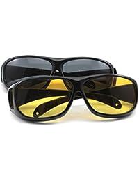 HuntGold Unisexe HD protecteur de la vision lunettes de soleil pour la conduite de nuit(Lentilles couleur: Jaune)