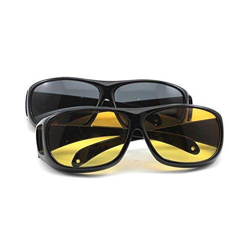 HuntGold Unisex HD Nachtfahr Vision Care Augen Schützen Wrap Around Brille Sonnenbrille (Glasfarbe: gelb)
