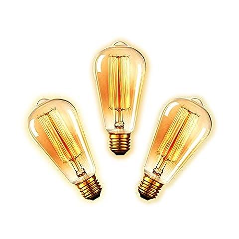 longyee [BZD] 60W ST64Glühlampe Edison Schraube Leuchtmittel dimmbar Antik-Wolfram Loop Stil Quirrel Käfig Form-Glas Leuchtmittel 220–240V 3PCS