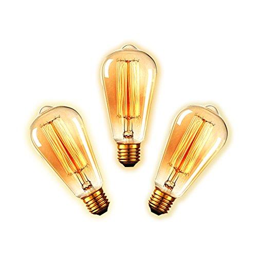 longyeetm Edison Leuchtmittel E26/E27Bajonett ST64Glühlampe 60W 220V Edison Stil Eichhörnchen Käfig Filament Glas Vintage Leuchtmittel, dimmbar, 3Stück (Tisch Bar Teardrop)