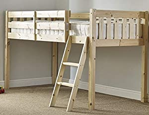 cabin bed - 3ft single wooden midi sleeper - childrens pine bed - HEAVY DUTY
