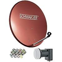 SCHWAIGER -494- Sistema Sat | parabola satellitare con Twin LNB (digitale) & 8 connettori F 7 mm | antenna satellitare in acciaio | rosso mattone | 55 x 62 cm