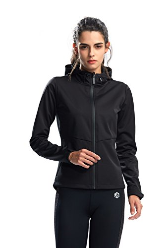 SILIK Chaqueta Deportiva Suéter con Cremallera de Manga Larga Sudadera de Fitness para Mujer, negro, XL