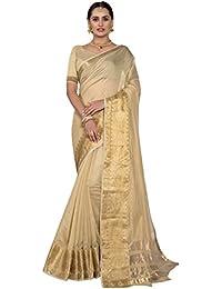 Pisara Women's Chanderi Silk Saree With Blouse Piece, Beige
