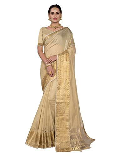 Pisara Women Chanderi Silk Saree With Blouse Piece, Beige sari