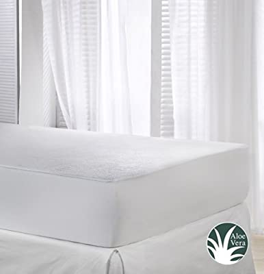 Velfont Terry Towelling Waterproof and Breathable Aloe Vera Mattress Protector - Fitted produced by Velamen - quick delivery from UK.