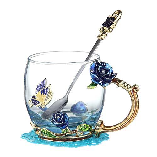 lesgos Emaille Teetasse, einzigartige Rose Flower Design handgefertigte Emaille schönen Tee Kaffeetasse mit Emaille Griff Löffel Geschenk-Set für Mama Oma Frau Freundin Schwestern (Emaille Löffel)