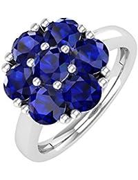 10K Gold Rund Blau Saphir Verlobungsring Band Ring (11/2Karat)