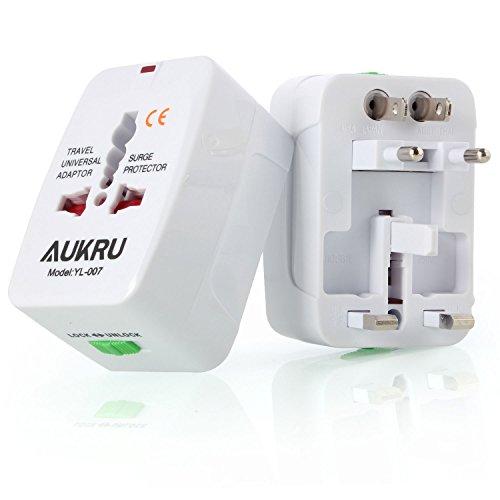 Aukru® Universal Adaptador de enchufe para viaje | Travel Adaptor | Más de 150 países en todo el mundo compatibles para EE.UU., Reino Unido,UK,US, AU,UE, Asia, África, Aus