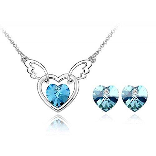 Parure coeur ailé cristal swarovski elements plaqué or blanc Bleu turquoise