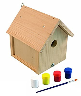 Windhager Nesting Box Kit Robin Bird House Build Your Own And Paint Beige, Includes Paint And Brush, 06945 from Windhager