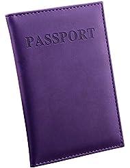 funtas Passeport Pochettes pour Passeport en cuir PU Porte Passeport Billets pourpre