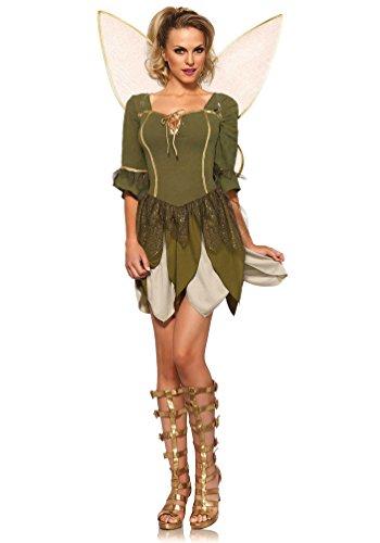 Karneval Klamotten Fee Kostüm Damen Waldfee Kostüm Luxus Elfe Damen sexy Kleid inkl. Feen-Flügel Karneval Fasching Größe ()