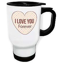 Te amo para siempre corazón Novedad Taza de viaje térmica de color blanco 14oz 400ml q5tw